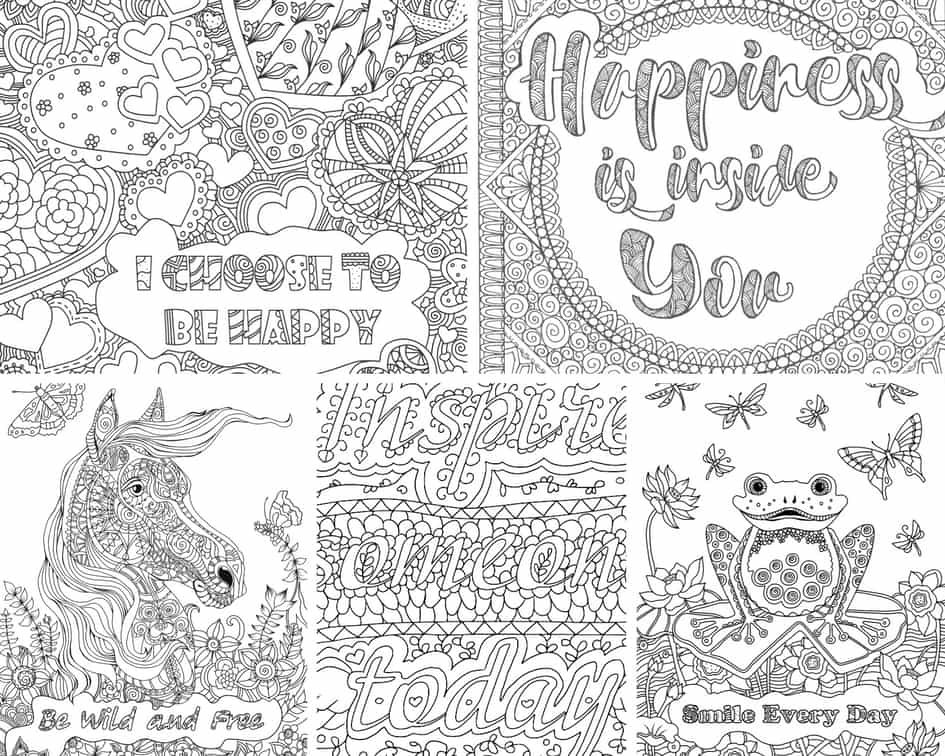Inspirational Messages - 5 Coloring Pages