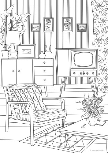 coloring pages simple living room - photo#29