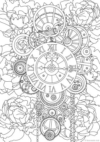 Steampunk Clock Printable Adult Coloring Pages From