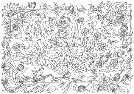 fan with details intricate adult coloring page