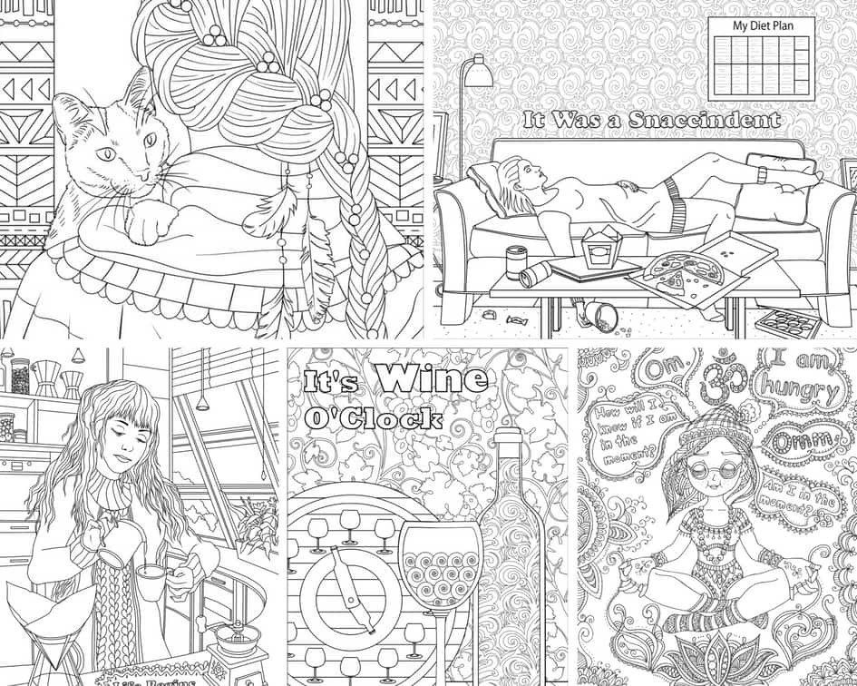 Funny Women - 5 Coloring Pages