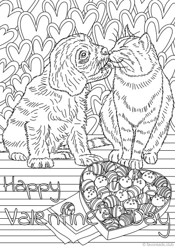 Cat and Dog in Love - Printable Adult Coloring Pages from ...