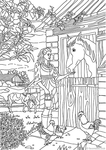 country barn printable adult coloring pages from favoreads. Black Bedroom Furniture Sets. Home Design Ideas