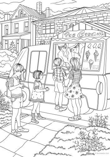 Ice Cream Truck Printable Coloring Page
