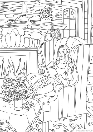 Cozy Evening Printable Adult Coloring Pages from Favoreads