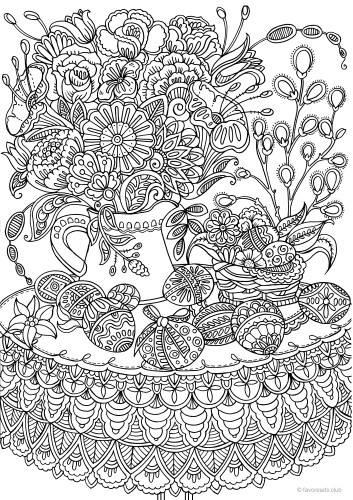 Easter Eggs and Flowers Printable Adult Coloring Pages