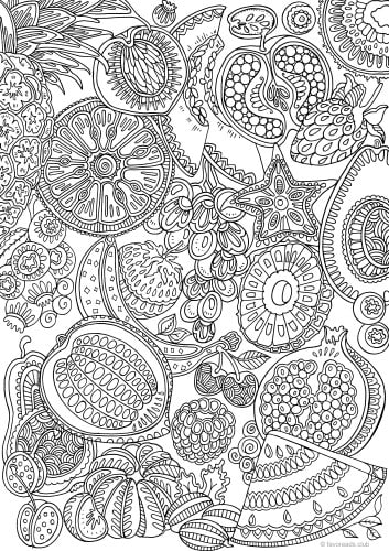 Fruits - Printable Adult Coloring Pages from Favoreads