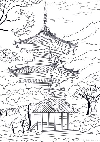 Japanese Temple - Printable Adult Coloring Pages from ...