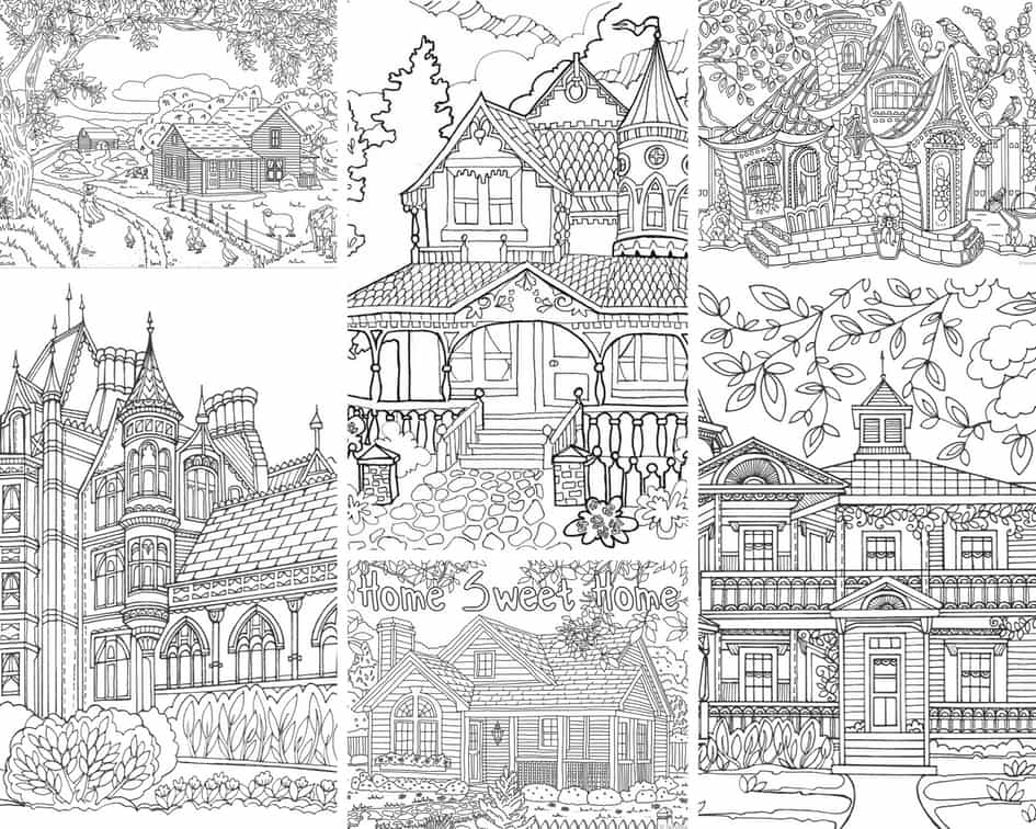 Beautiful Houses - 10 Coloring Pages