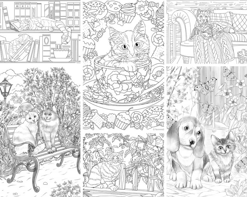 Cats and Dogs - 10 Coloring Pages - Printable Adult ...