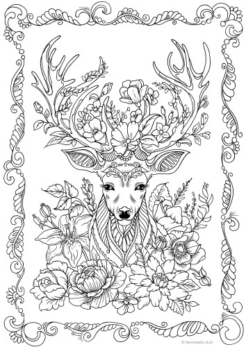 Fantasy Deer - Printable Adult Coloring Pages from Favoreads