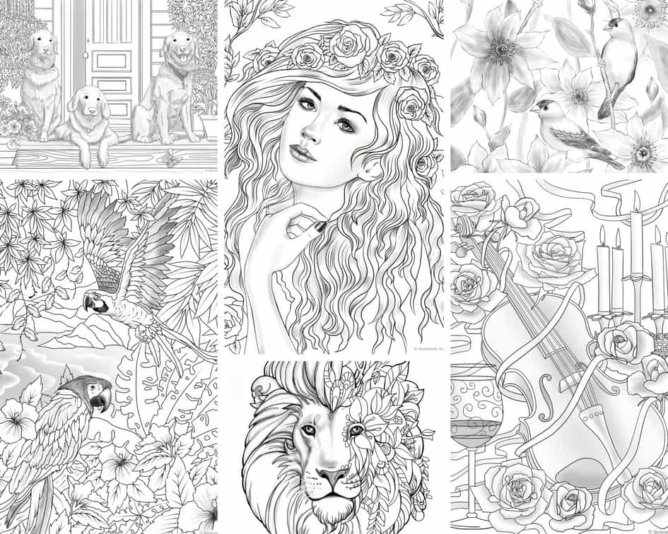 Grayscale Designs – 10 Coloring Pages