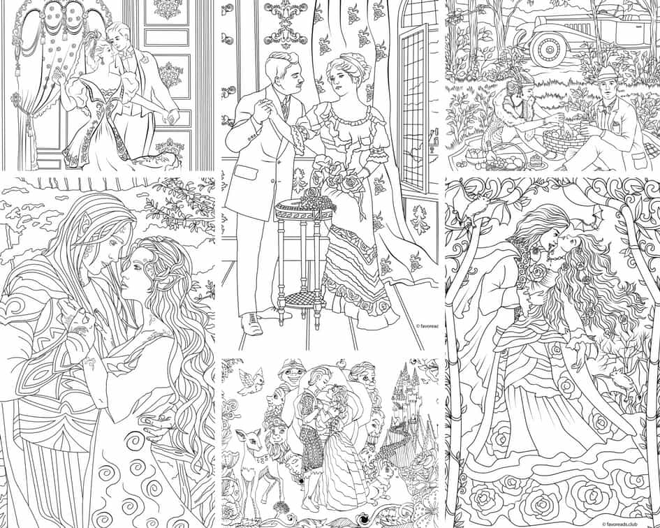 Romantic Moments - 10 Coloring Pages