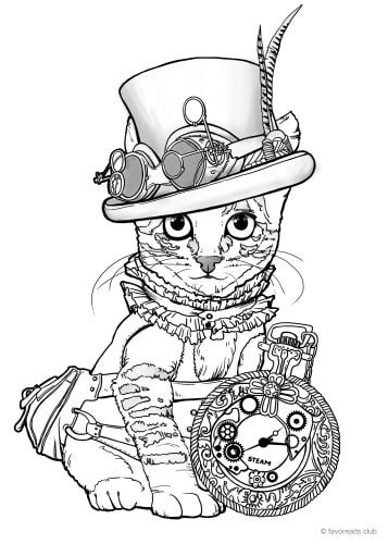 Steampunk Cat Favoreads Coloring Club