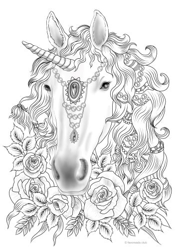 Unicorn - Printable Adult Coloring Pages from Favoreads