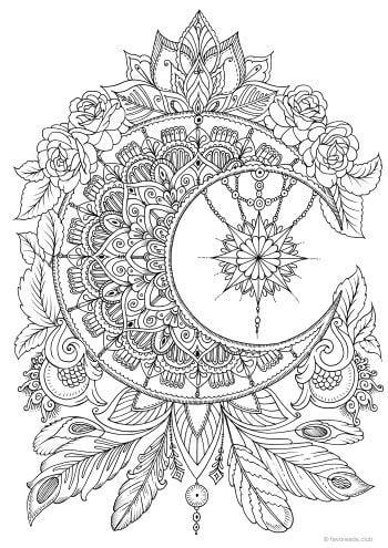 Moon Printable Adult Coloring Pages From Favoreads